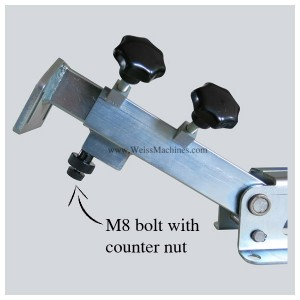 Position of the M8 bolt with counter nut